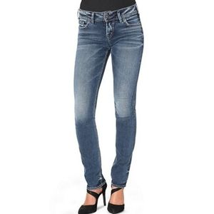 Silver Tuesday Mid Rise Straight Jeans Light Y2K